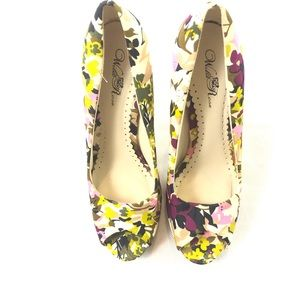 Wild Rose Floral Peep Toe Pumps 11 Stiletto Heels